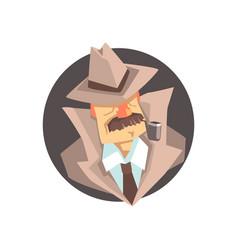 detective character wearing classic fedora hat vector image vector image