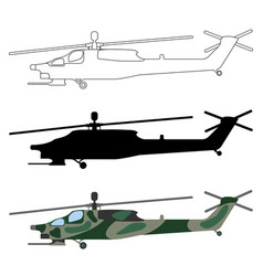 military helicopter silhouette cartoon outline set vector image vector image