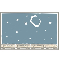 Night Sky Train vector image vector image