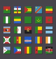 Africa flag icon set Metro style vector image