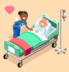 black nurse or family doctor at male patient bed vector image
