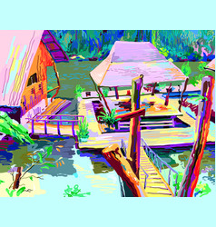 Digital painting of asia landscape river in vector