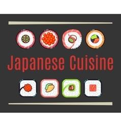 Japanese cuisine restaurant logo template vector image vector image