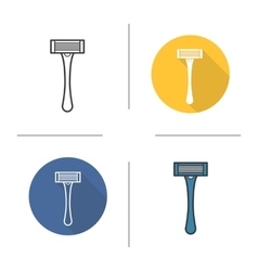 Razor flat design linear and color icons set vector image vector image
