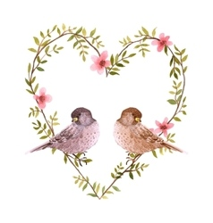 Watercolor birds and heart of flowers vector image vector image