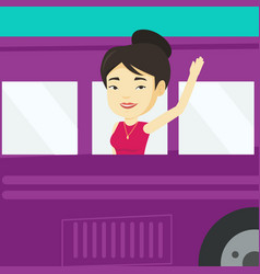 Woman waving hand from bus window vector