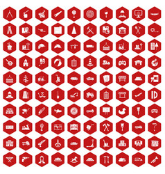 100 lorry icons hexagon red vector