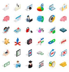 Amount of money icons set isometric style vector