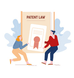 Angry women inventors or authors pulling patent vector