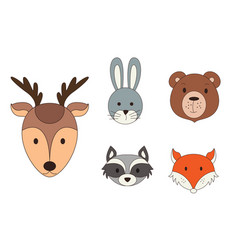 Animal heads in cartoon style woodland vector