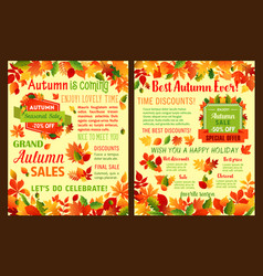Autumn sale shop discount leaflet or poster vector