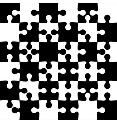 Background black and white jigsaw puzzle vector image