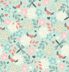 background with hearts and flowers vector image