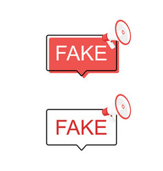 Banner set fake news megaphone label loudspeaker vector