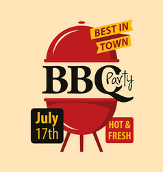 bbq party banner with decorative barbecues grill vector image