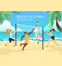beach volleyball multiracial teams competition vector image