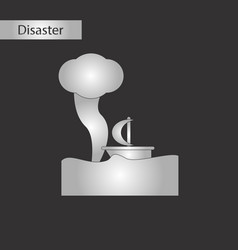 Black and white style icon ship storm vector