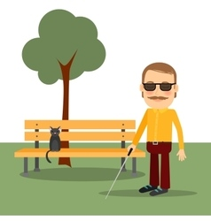 Blind man in the park vector