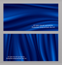 Blue silk fabric banners templates vector