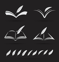 Book and feather vector image