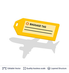 bright yellow luggage tag isolated on white vector image