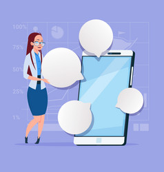 Business woman stand with big cell smart phone vector