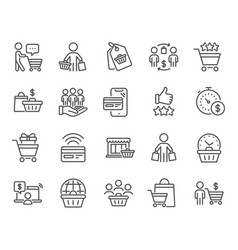 Buyer customer line icons contactless payment vector