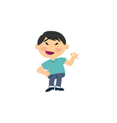 cartoon character asian boy in approval attitude vector image