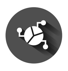 Chart icon in flat style diagram on black round vector