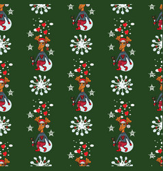 christmas reindeer seamless pattern background vector image
