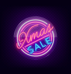 christmas sale discounts card postcard in neon vector image