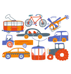 collection various transport vehicles tram vector image