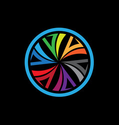 connection circle logo colorful icon backgr vector image