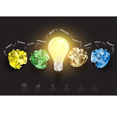 Creative light bulb with crumpled paper vector