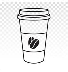 Disposable paper cup with coffee bean line art vector