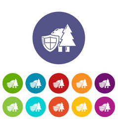 Environment protection icons set color vector