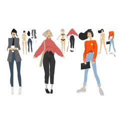 Fashion girls set vector