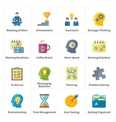 Flat Productivity at Work Icons vector image
