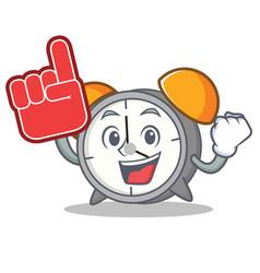 Foam finger alarm clock mascot cartoon vector