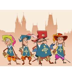 Four cartoon funny characters soldiers Musketeers vector