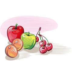 Freshly picked ripe fruit vector