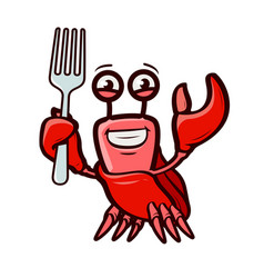 Funny crab holds fork seafood cartoon vector