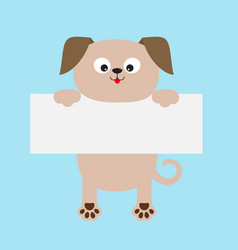 Funny dog hanging on paper board template kawaii vector