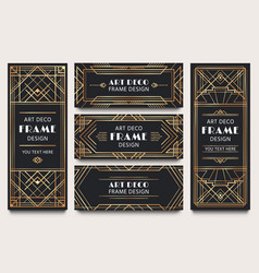 Golden art deco banner frames geometric gold vector