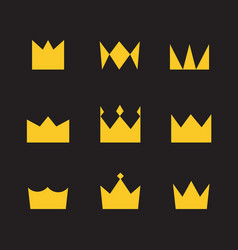 Golden crowns on a black background simple style vector