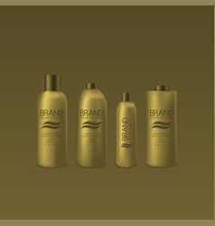 golden shampoo and foam bottles vector image