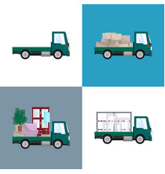 Green small trucks with different loads vector