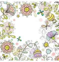 Greeting card floral background doodle style vector