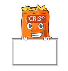 Grinning with board snack food sticks chisp on vector