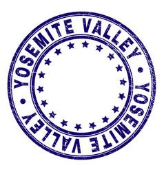 Grunge textured yosemite valley round stamp seal vector